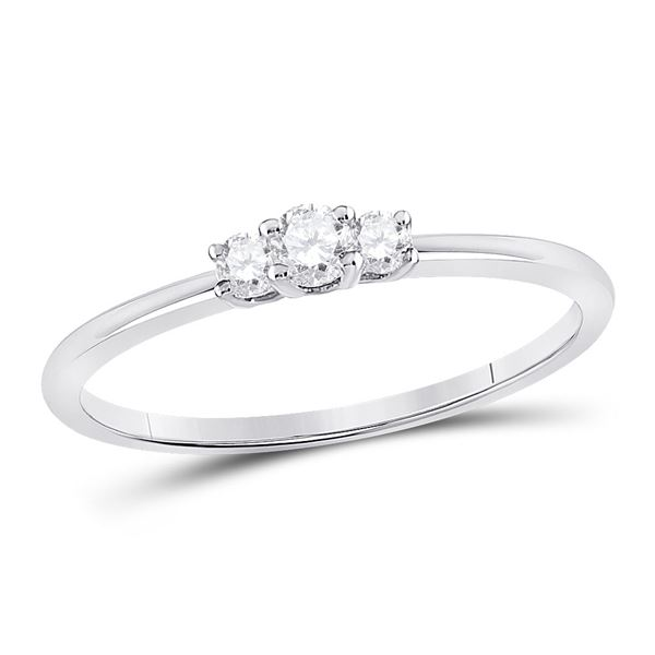 Diamond 3-Stone Stackable Band Ring 1/6 Cttw 10kt White Gold