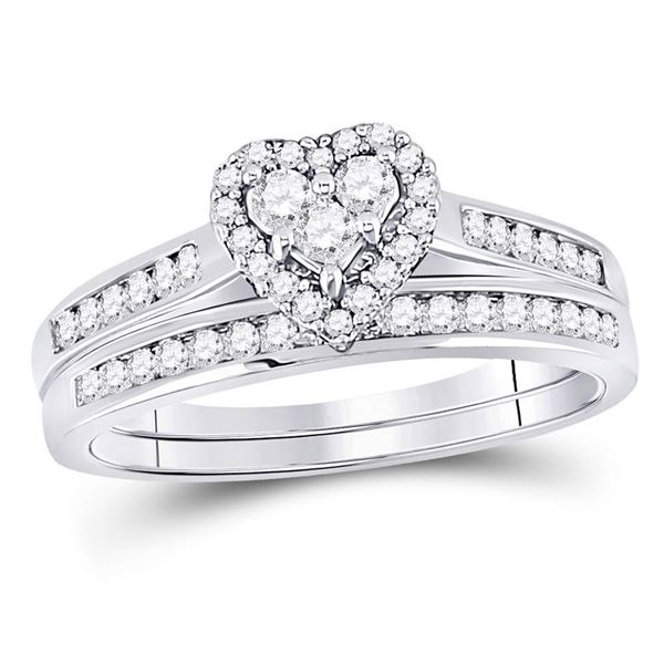 Diamond Heart Bridal Wedding Ring Band Set 1/2 Cttw 14kt White Gold