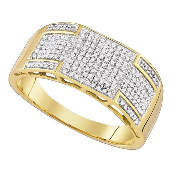 Mens Diamond Band Ring 3/8 Cttw 10kt Yellow Gold