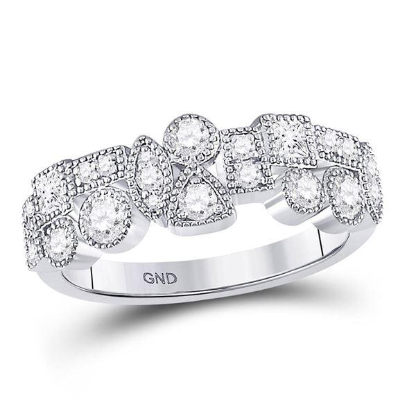 Diamond Modern Geometric Band Ring 5/8 Cttw 10kt White Gold