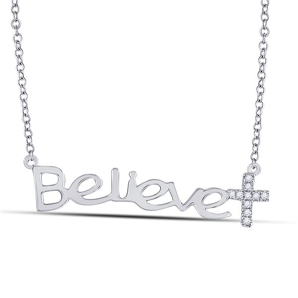 Diamond Believe Cross Necklace 1/20 Cttw 10kt White Gold