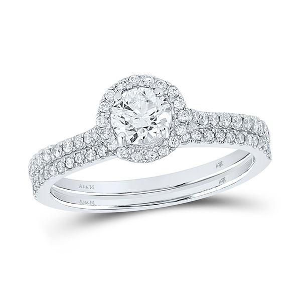 Diamond Slender Bridal Wedding Ring Band Set 7/8 Cttw 14k White Gold