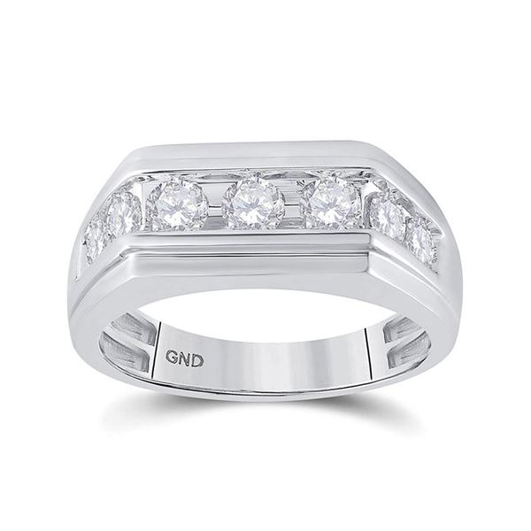 Mens Diamond Flat Top Band Ring 1 Cttw 10kt White Gold