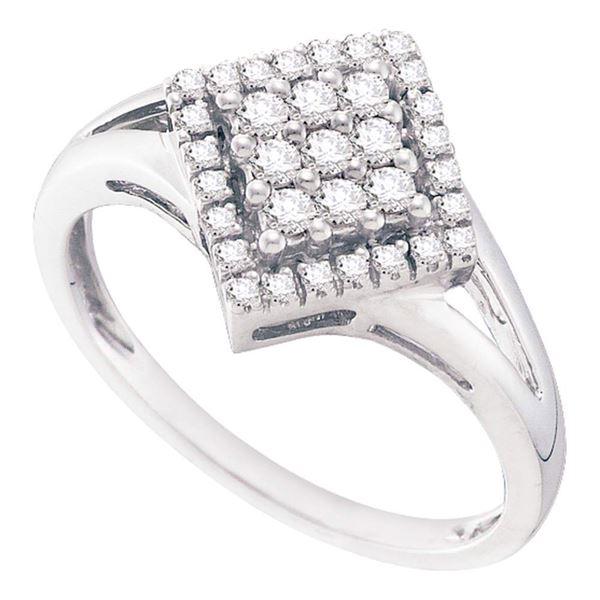 Diamond Diagonal Square Cluster Ring 1/4 Cttw 10kt White Gold