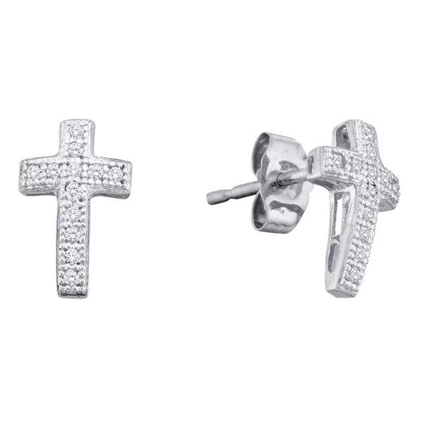 Diamond Cross Earrings 1/10 Cttw Sterling Silver