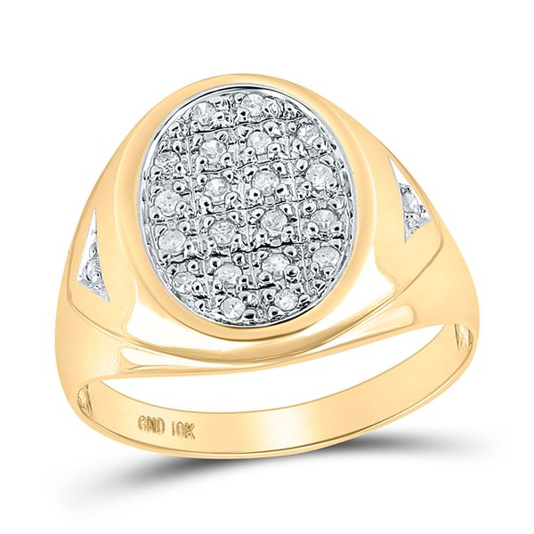 Mens Prong-set Diamond Oval Cluster Ring 1/4 Cttw 10kt Yellow Gold