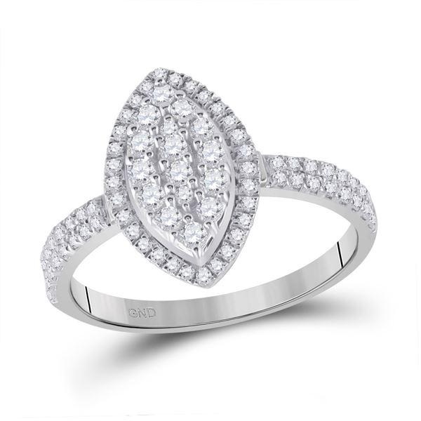 Diamond Oval Cluster Ring 5/8 Cttw 10kt White Gold