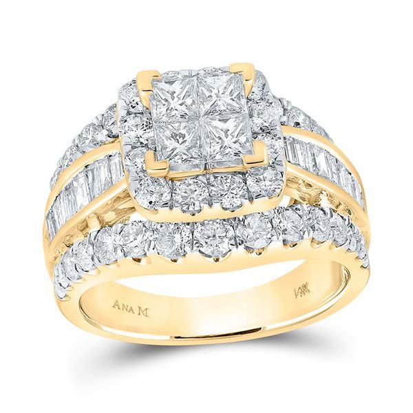 Princess Diamond Halo Cluster Bridal Wedding Engagement Ring 3 Cttw 14kt Yellow Gold