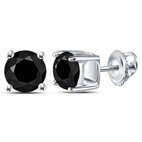 Black Color Enhanced Diamond Solitaire Earrings 2 Cttw 10kt White Gold