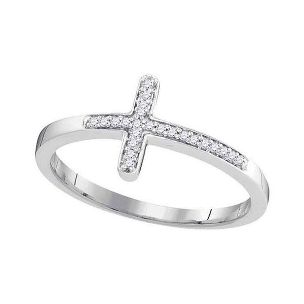 Diamond Cross Religious Band Ring 1/20 Cttw 10kt White Gold