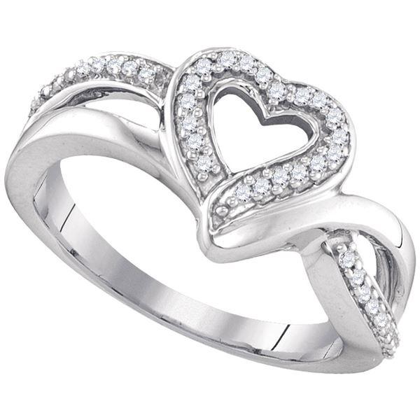 Diamond Heart Frame Cluster Ring 1/8 Cttw Sterling Silver
