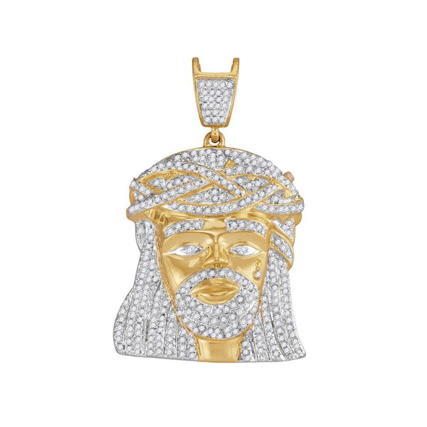 Mens Diamond Jesus Charm Pendant 1-1/4 Cttw 10kt Yellow Gold