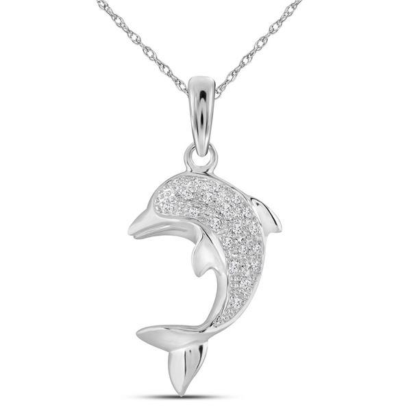 Diamond Dolphin Fish Animal Pendant 1/10 Cttw 10kt White Gold