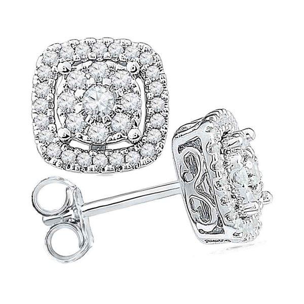 Diamond Framed Square Cluster Earrings 1/2 Cttw 10kt White Gold