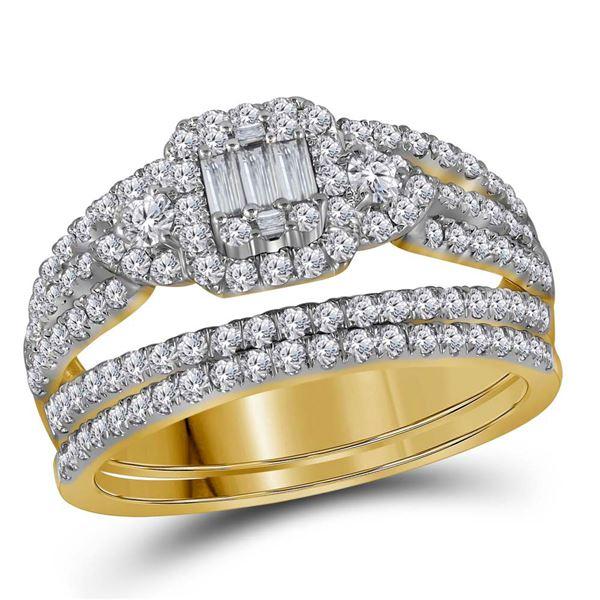 Baguette Diamond Bridal Wedding Ring Band Set 1 Cttw 14kt Yellow Gold