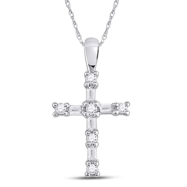 Baguette Diamond Cross Pendant 1/4 Cttw 10kt White Gold