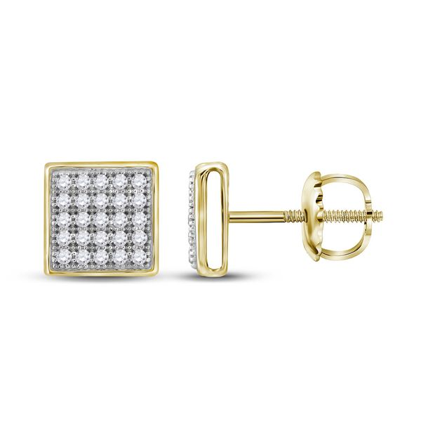 Diamond Square Earrings 1/6 Cttw 10kt Yellow Gold