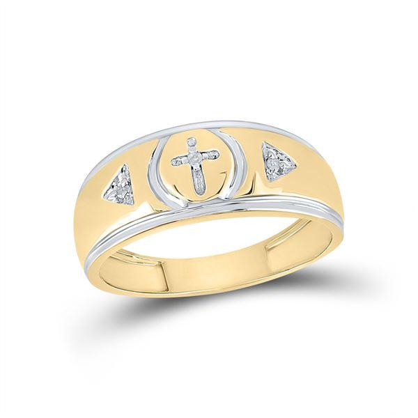 Yellow-tone Sterling Silver Mens Diamond Cross Wedding Band Ring 1/20 Cttw Yellow-tone Sterling Silv