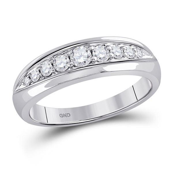 Mens Diamond Single Row Band Ring 1/2 Cttw 14kt White Gold
