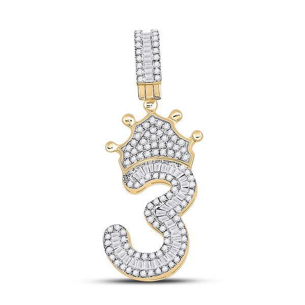 Mens Baguette Diamond Number 3 Crown Charm Pendant 5/8 Cttw 10kt Yellow Gold