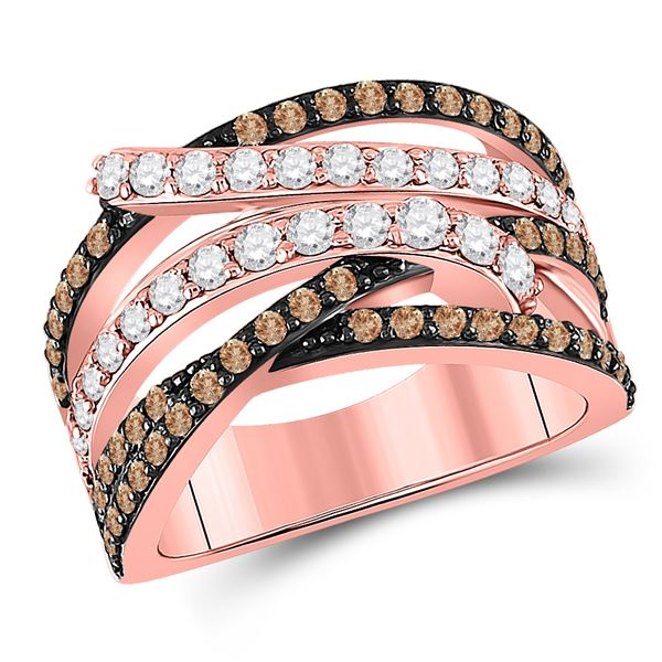 Brown Diamond Crossover Fashion Ring 1-1/4 Cttw 14kt Rose Gold