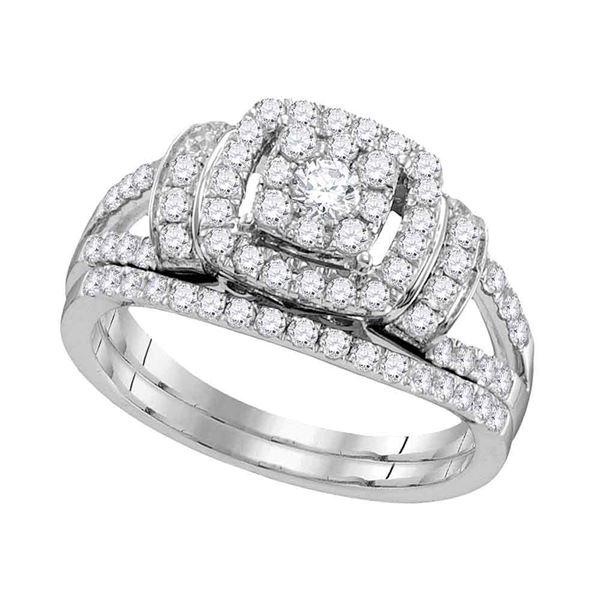 Diamond Framed Cluster Bridal Wedding Ring Band Set 1 Cttw 14kt White Gold