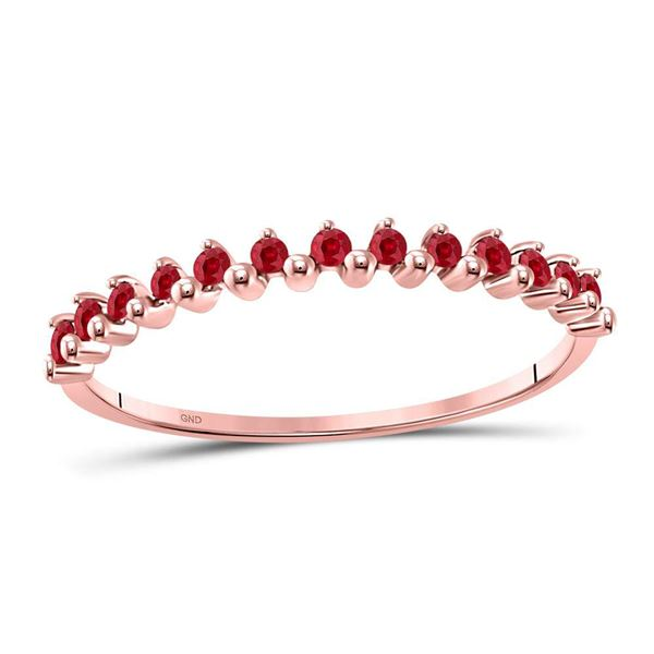Ruby Single Row Stackable Ring 1/8 Cttw 10kt Rose Gold