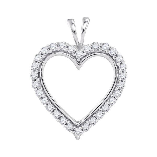 Diamond Heart Outline Pendant 1/4 Cttw 10kt White Gold