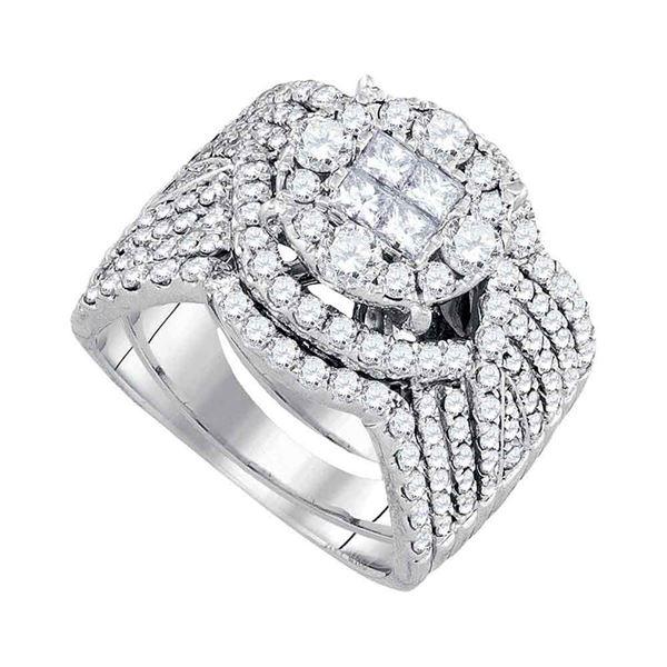 Princess Diamond Bridal Wedding Ring Band Set 2 Cttw 14kt White Gold