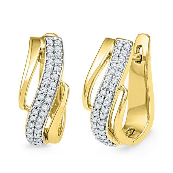 Diamond Diagonal Double Row Hoop Earrings 1/4 Cttw 10kt Yellow Gold