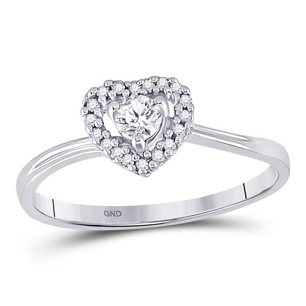 Diamond Heart Promise Ring 1/4 Cttw 10kt White Gold