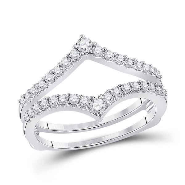 Diamond Ring Guard Wrap Enhancer Wedding Band 1/2 Cttw 14kt White Gold