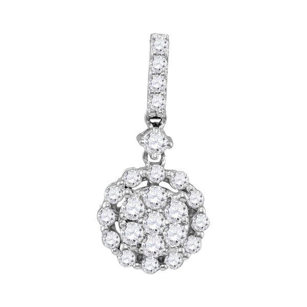 Diamond Flower Cluster Pendant 5/8 Cttw 14kt White Gold