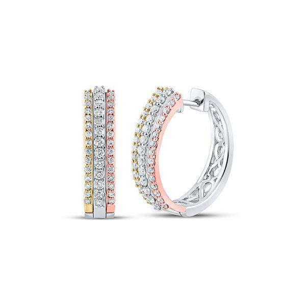 Diamond Hoop Earrings 1/2 Cttw 10kt Tri-Tone Gold