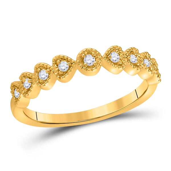 Diamond Heart Stackable Band Ring 1/10 Cttw 14kt Yellow Gold