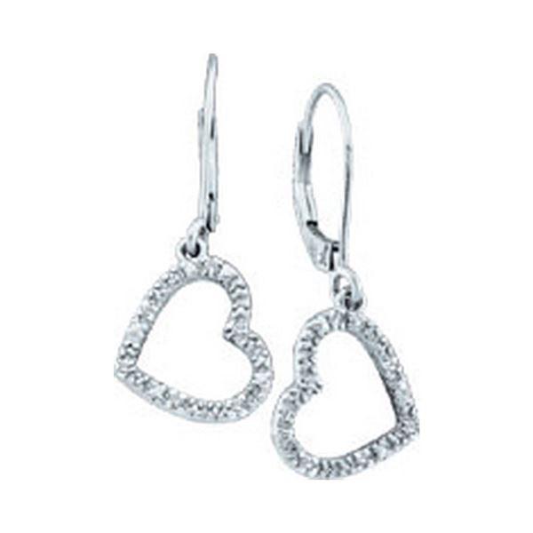 Diamond Heart Dangle Earrings 1/20 Cttw 10kt White Gold
