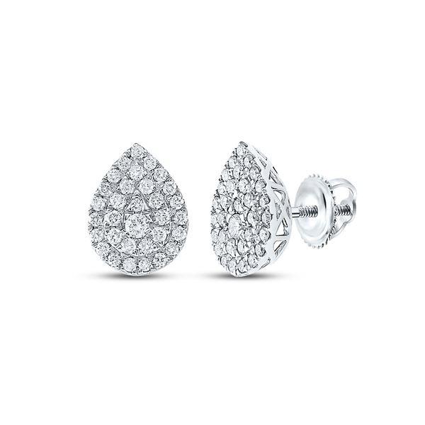 Diamond Teardrop Cluster Earrings 1/2 Cttw 10kt White Gold