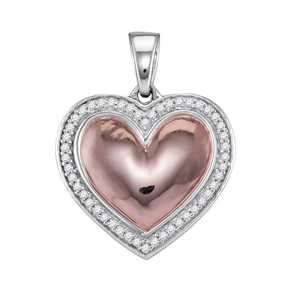 Diamond Framed Heart Pendant 1/5 Cttw 10kt White Rose-tone Gold
