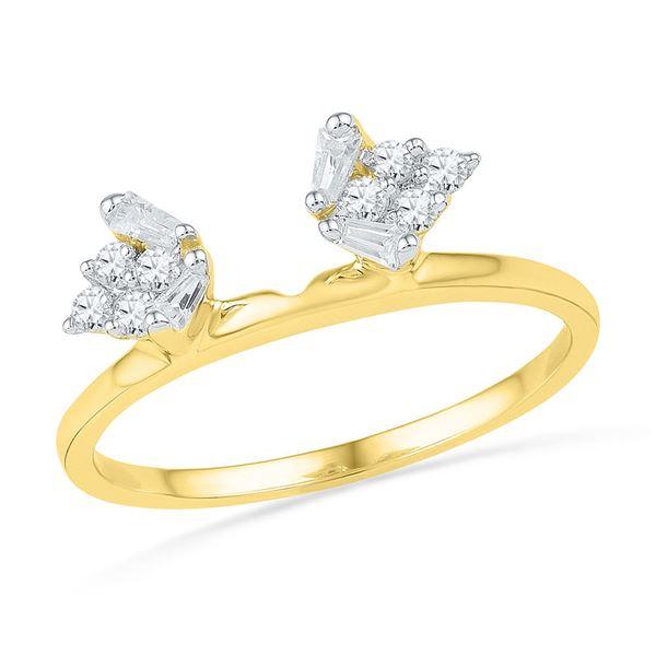 Baguette Diamond Ring Guard Wrap Solitaire Enhancer 1/4 Cttw 14kt Yellow Gold