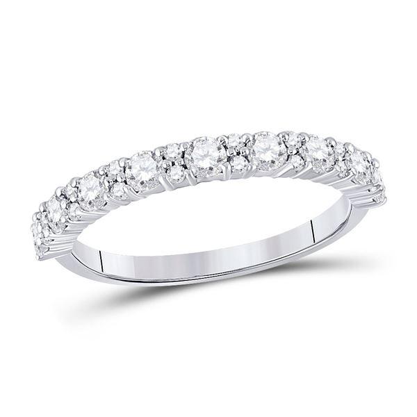 Diamond Single Row Band Ring 3/4 Cttw 10kt White Gold