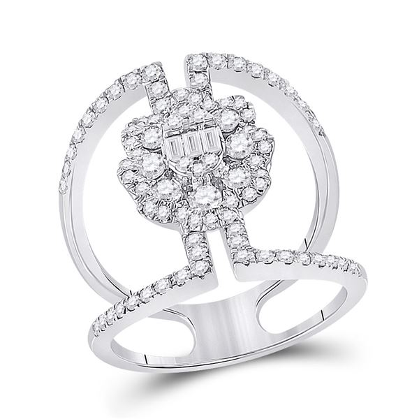 Baguette Diamond Negative Space Cluster Ring 1-1/5 Cttw 14kt White Gold