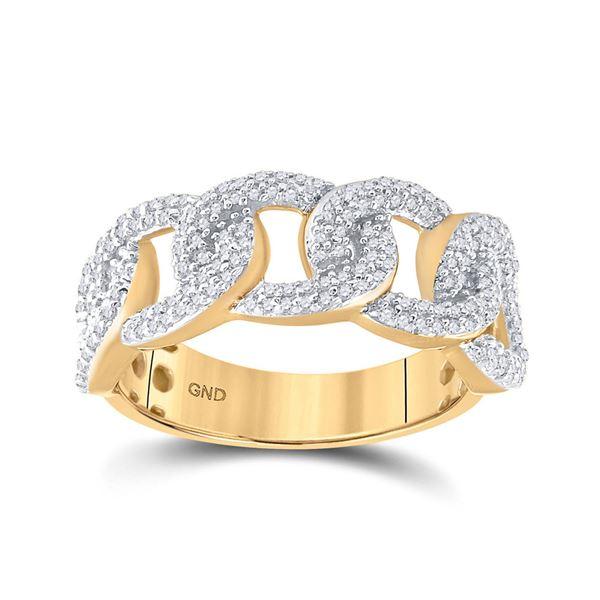 Mens Diamond Curb Link Cuban Band Ring 5/8 Cttw 10kt Yellow Gold