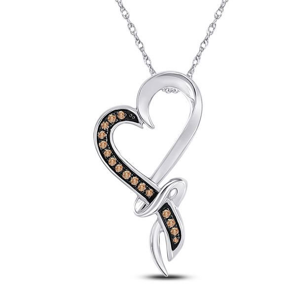 Brown Diamond Heart Pendant 1/10 Cttw 10kt White Gold