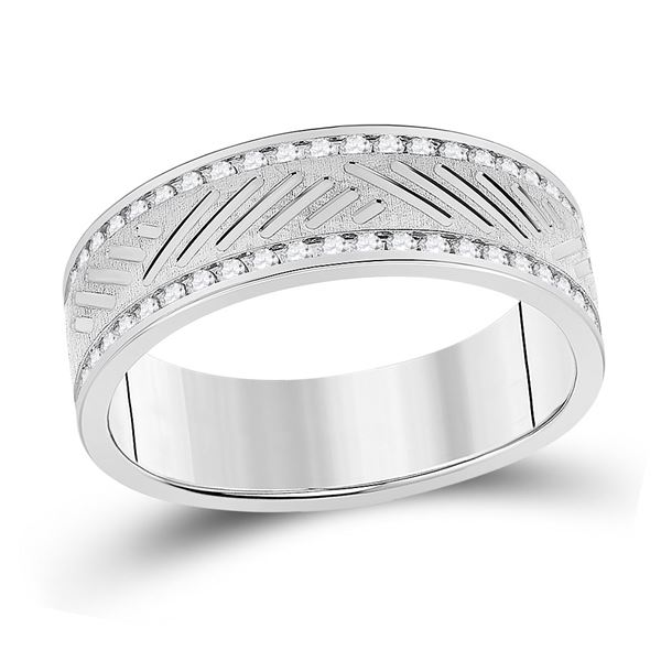 Mens Diamond Wedding Machine Set Band Ring 1/2 Cttw 10kt White Gold