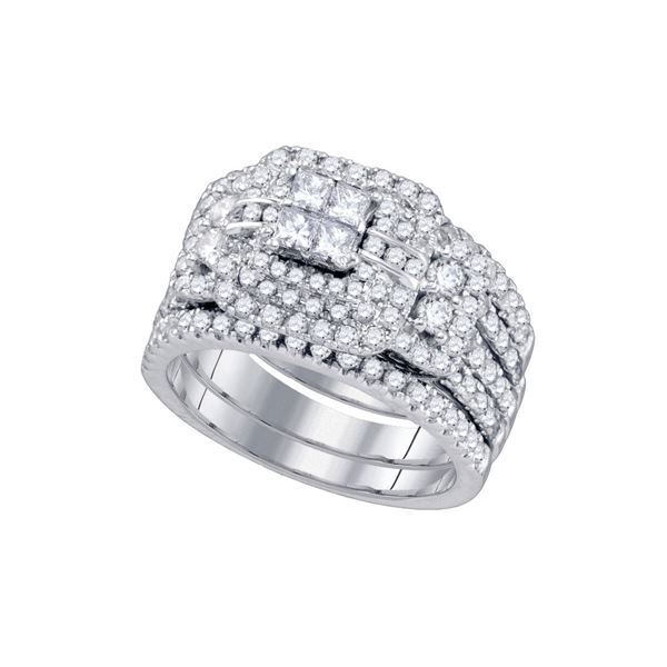 Diamond Cluster Wedding Bridal Ring Set 2 Cttw 14kt White Gold