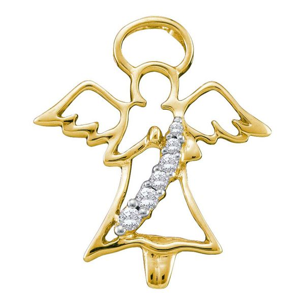 Diamond Praying Guardian Angel Pendant 1/20 Cttw 10kt Yellow Gold