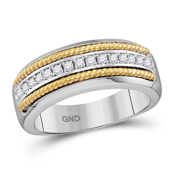 Mens Pave-set Diamond Yellow-tone Rope Wedding Band 1/3 Cttw 10kt White Gold