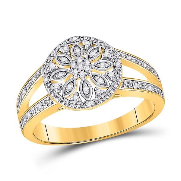 Diamond Flower Cluster Ring 1/10 Cttw Yellow-tone Sterling Silver