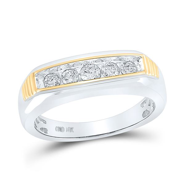 Mens Diamond Single Row Band Ring 1/2 Cttw 10kt Two-tone Gold