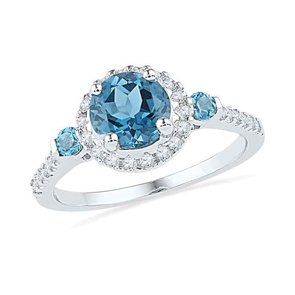 Lab-Created Blue Topaz Solitaire Diamond Ring 1/5 Cttw 10kt White Gold